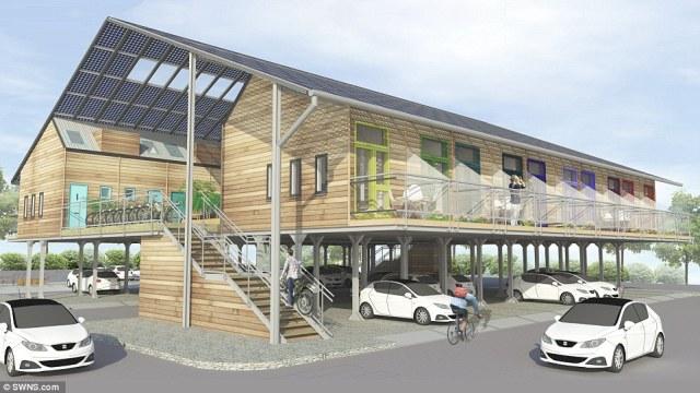 Os flats ZedPods instalados sobre um park and ride. (Fonte: Daily Mail).