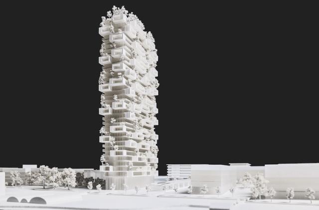 Maquete do projeto La Tour des Cedres, de Stefano Boeri. (Fonte: Dezeen).