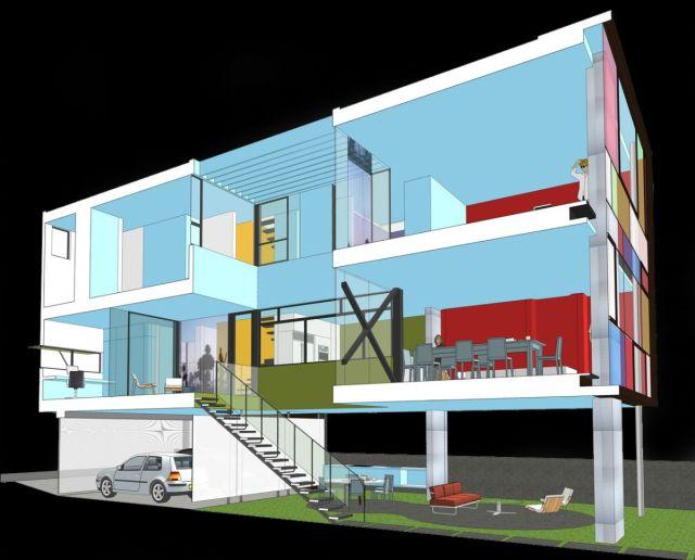 Corte perspectivado da Hover House 3. (Fonte: Architect's List).