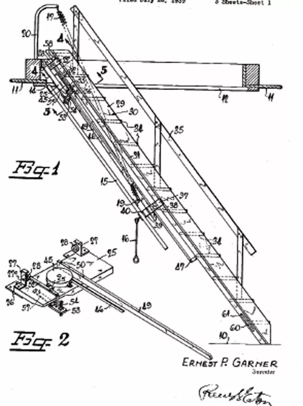 medium resolution of nielson who has her masters in history looked in the u s patent and trademark office records and discovered that garner s disappearing stairs first were