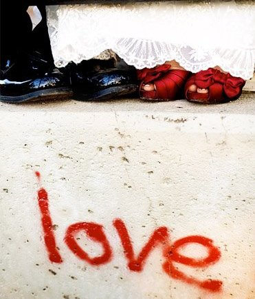 graffiti love and wedding shoes