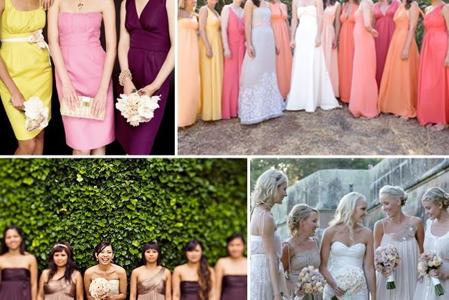non-matching bridesmaids dresses
