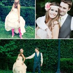 pink tights with wedding dress