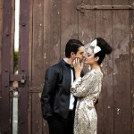 bride in sequin wedding dress