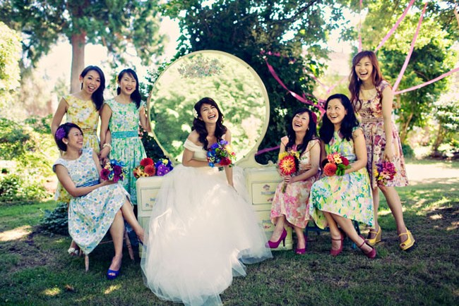 bridesmaids with vanity table