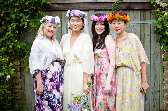bridesmaids in maxi dresses