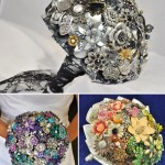 blue-petyl brooch bouquet