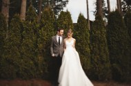 bride wearing spagehtti strap wedding dress