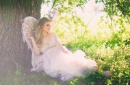 bridal session with wings