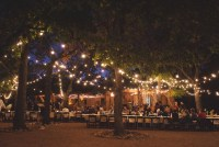 outdoor reception with string lights