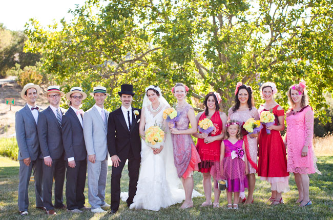 pink and red bridal party