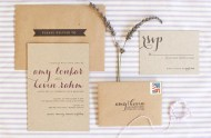 kraft paper caligraphy invitation