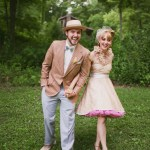 bride wearing pink petticoat dress