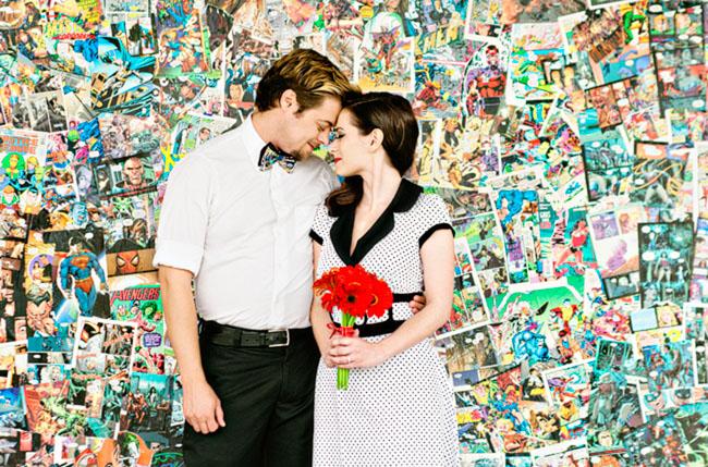 Comic Book Anniversary Photos  Green Wedding Shoes  Weddings Fashion Lifestyle  Trave