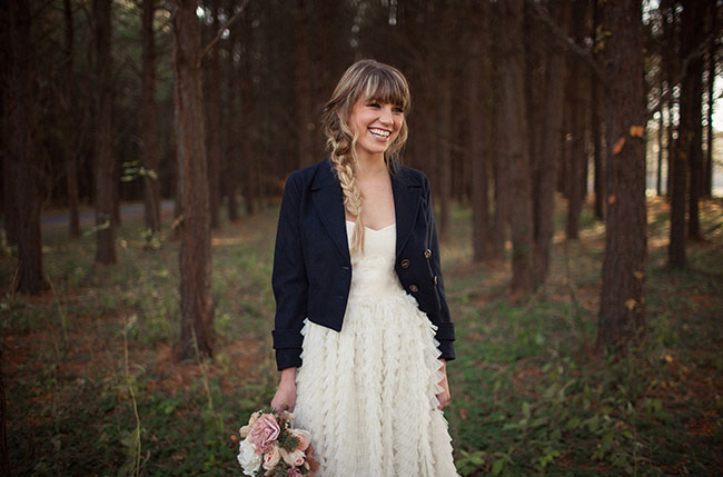 jacket with wedding dress