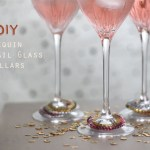 DIY Sequin Cocktail Glass Collars