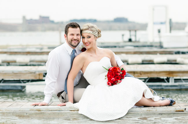red white and blue bride
