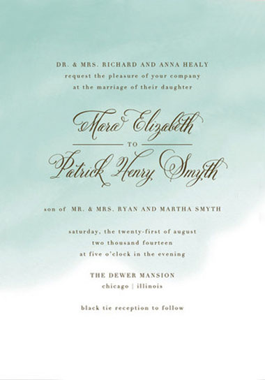 Watercolor Wash Wedding Invitations Green Shoes