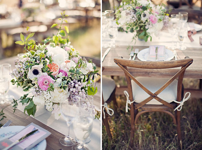 romantic and pink centerpieces