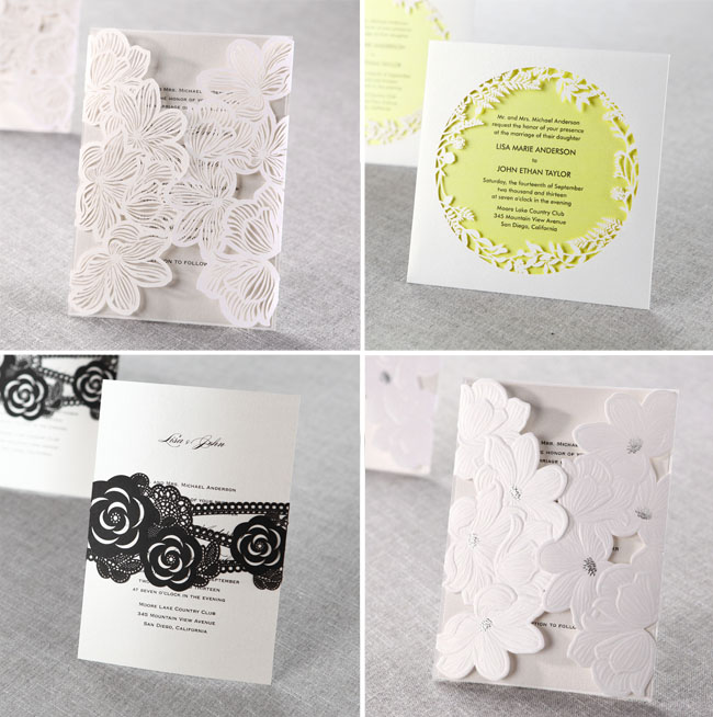 LaserCut Wedding Invitations from B Wedding Invitations  Green Wedding Shoes  Weddings