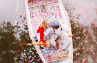 confetti on a canoe