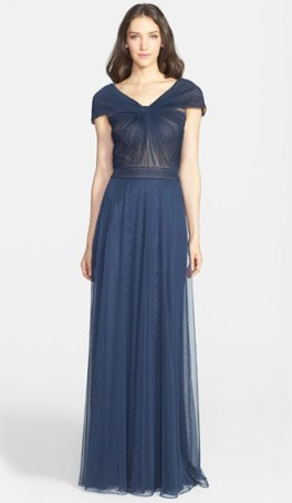 Portrait Collar Pleated Mesh Gown