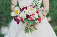 colorful red and peony bouquet