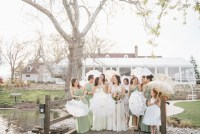 bridesmaids with parasols