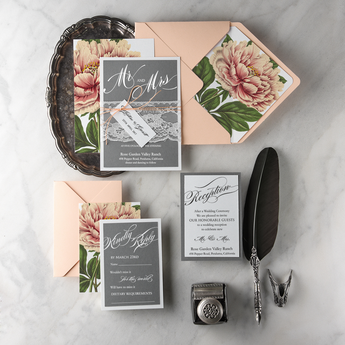 Botanical Wedding Invitations from 4LOVEPolkaDots  Green