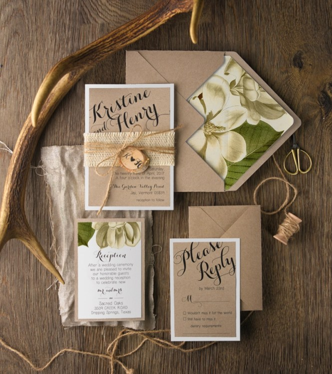 Balinese Wood Carving Palm Branches Wedding Invitation
