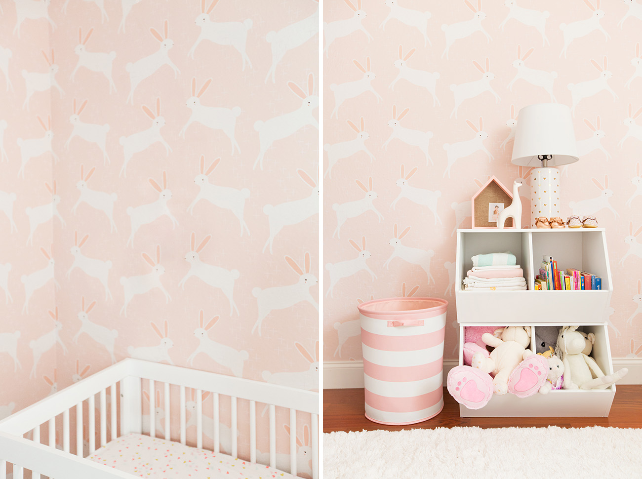 Little Cute Baby Girl Wallpaper A Pink Bunny Nursery With Target Amp Emily Henderson Green