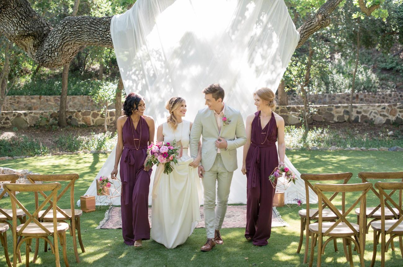 geometric copper mauve wedding inspiration