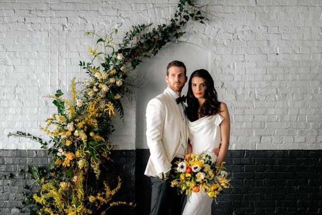 Chill Citrus Hued Industrial Wedding