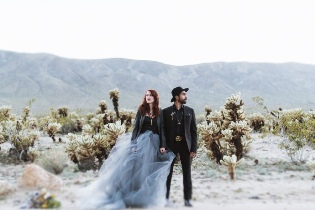 Blue Dress Desert Elopement