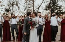 Bridesmaids Wore Burgundy In Laid Winter
