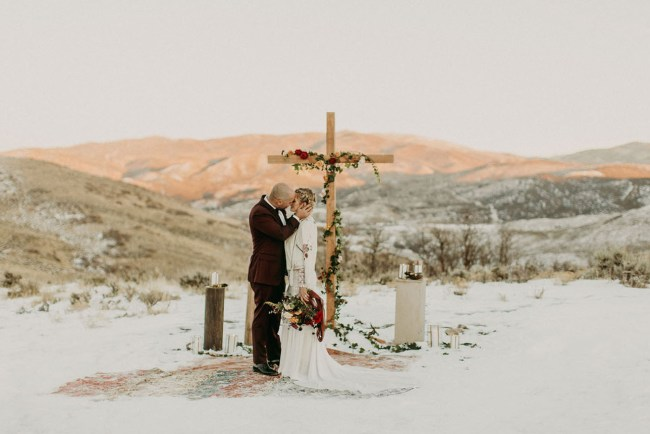 Winter Mountaintop Distillery Wedding