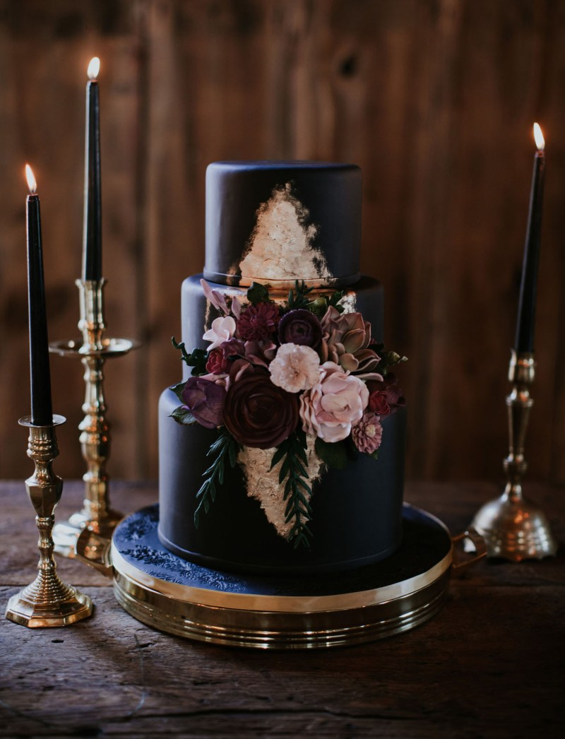 Dark Moody Cake Green Wedding Shoes