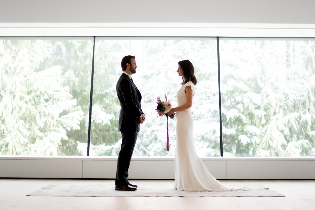 winter wedding at an art museum