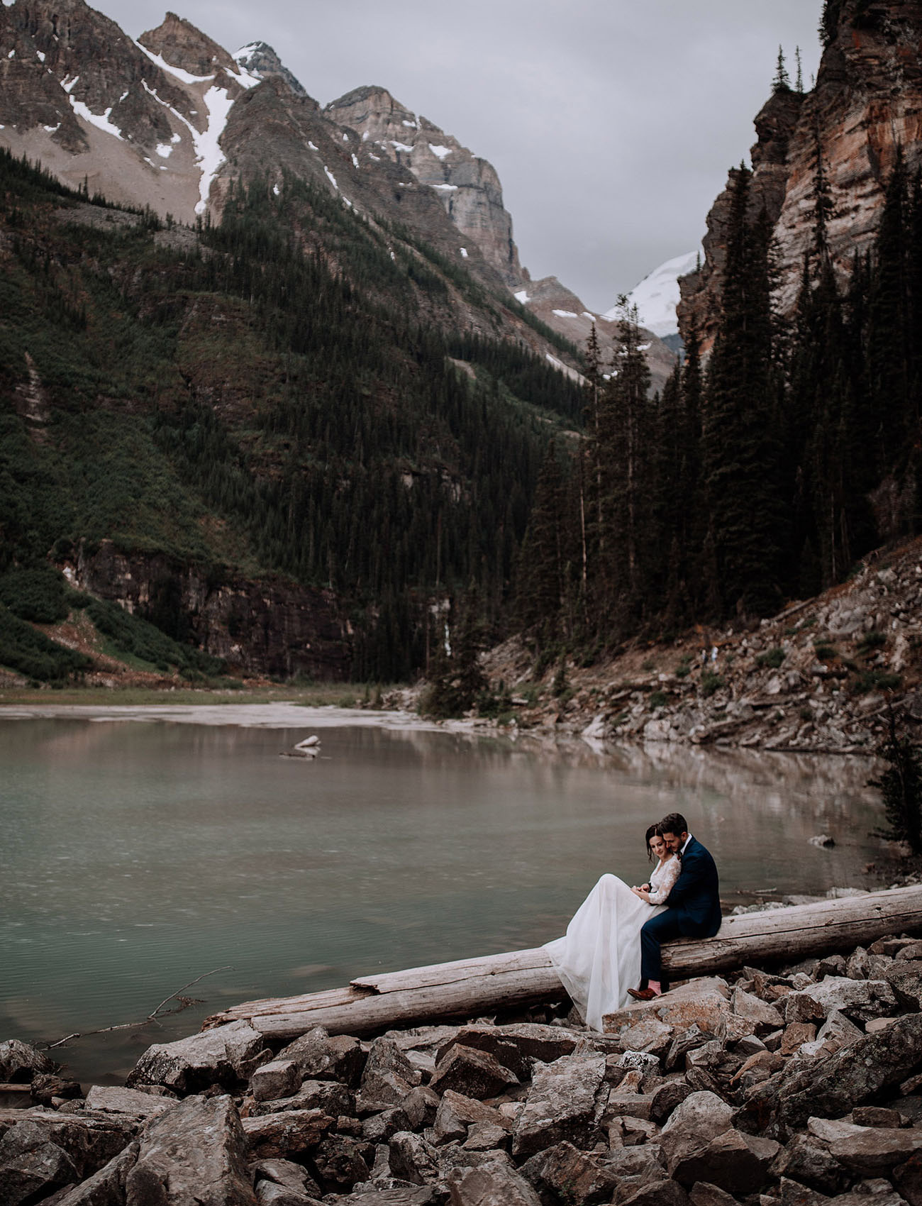 On the Edge of Turquoise Waters Romantic  Intimate Elopement in Banff National Park  Green
