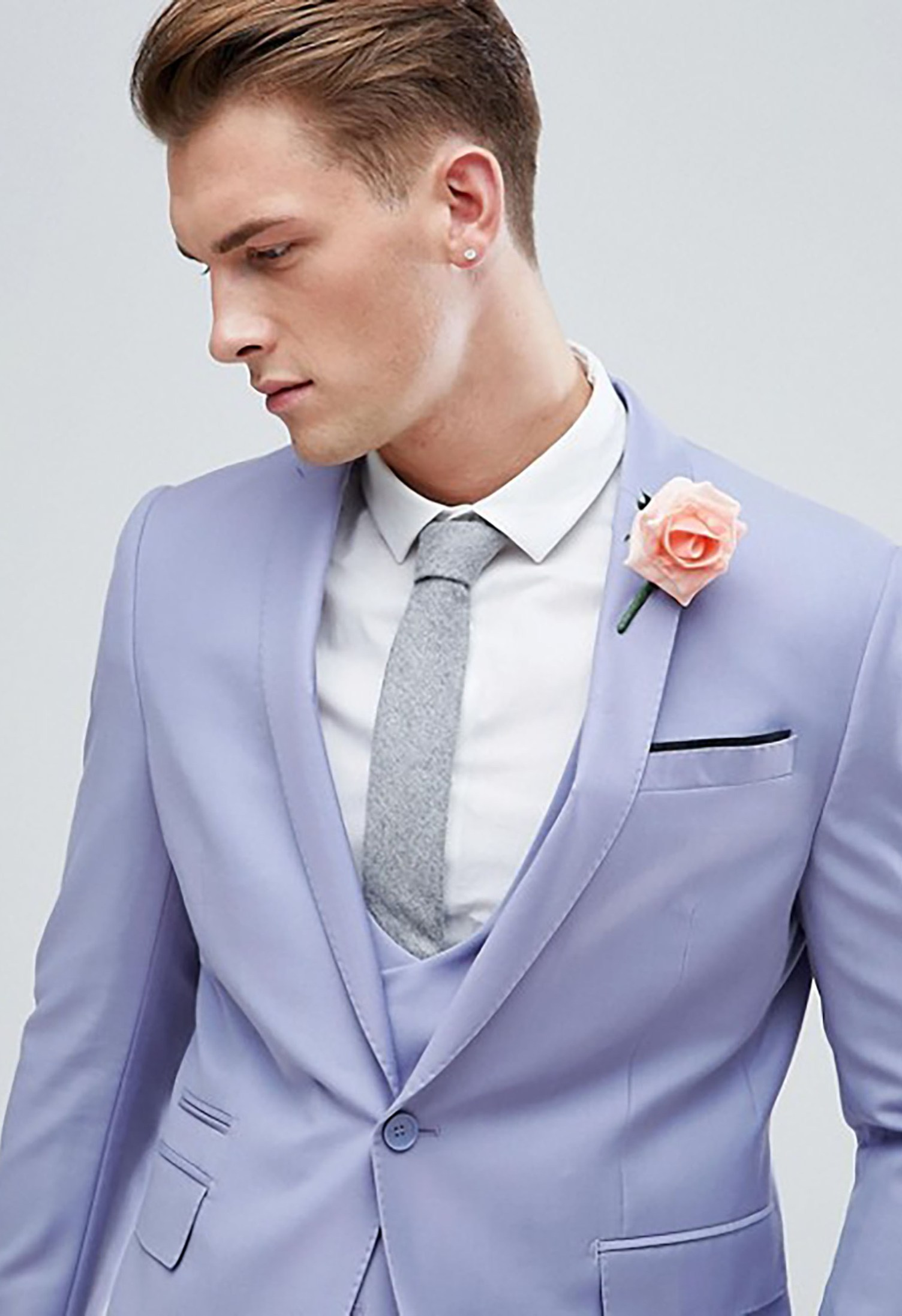 Skinny Suit Jacket In Pale Blue Green Wedding Shoes