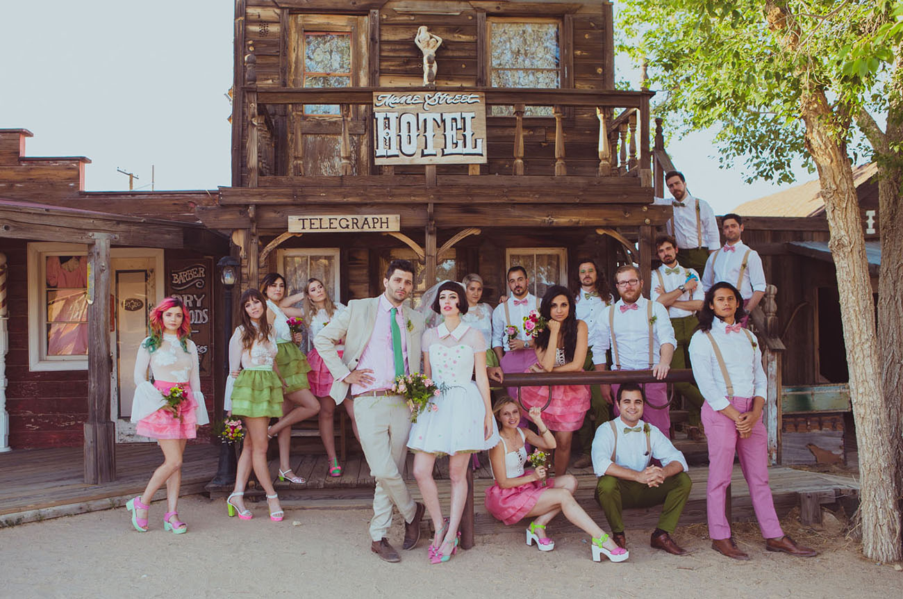 Colorful  Eclectic WesTern Anderson Wedding in PioneerTown  Green Wedding Shoes