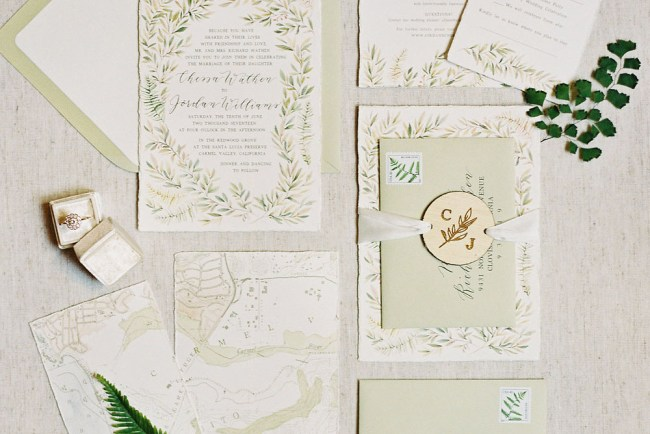 floral green invitation