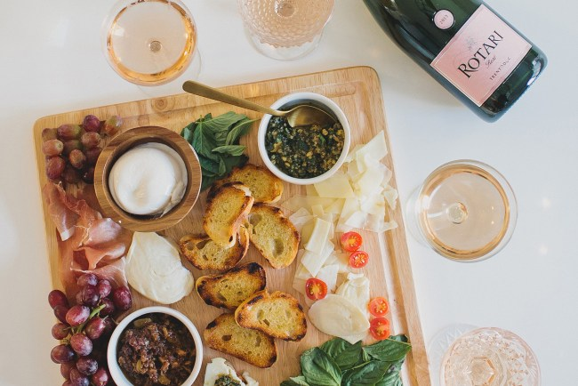crostini bar and sparkling rose
