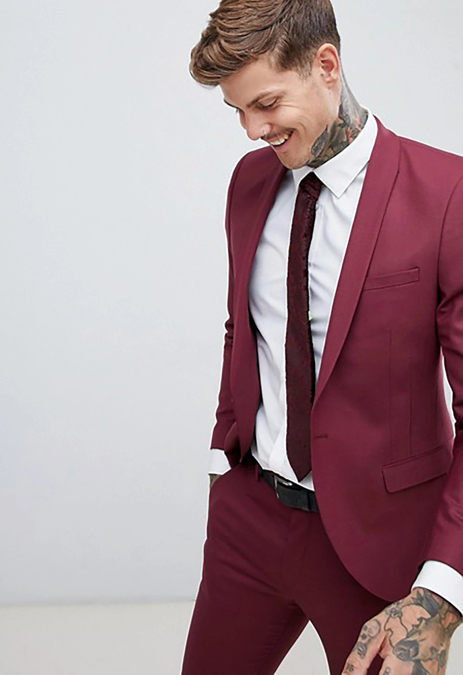 f77ccc6055d7e7 Super Skinny Suit Jacket in Burgundy - Green Wedding Shoes