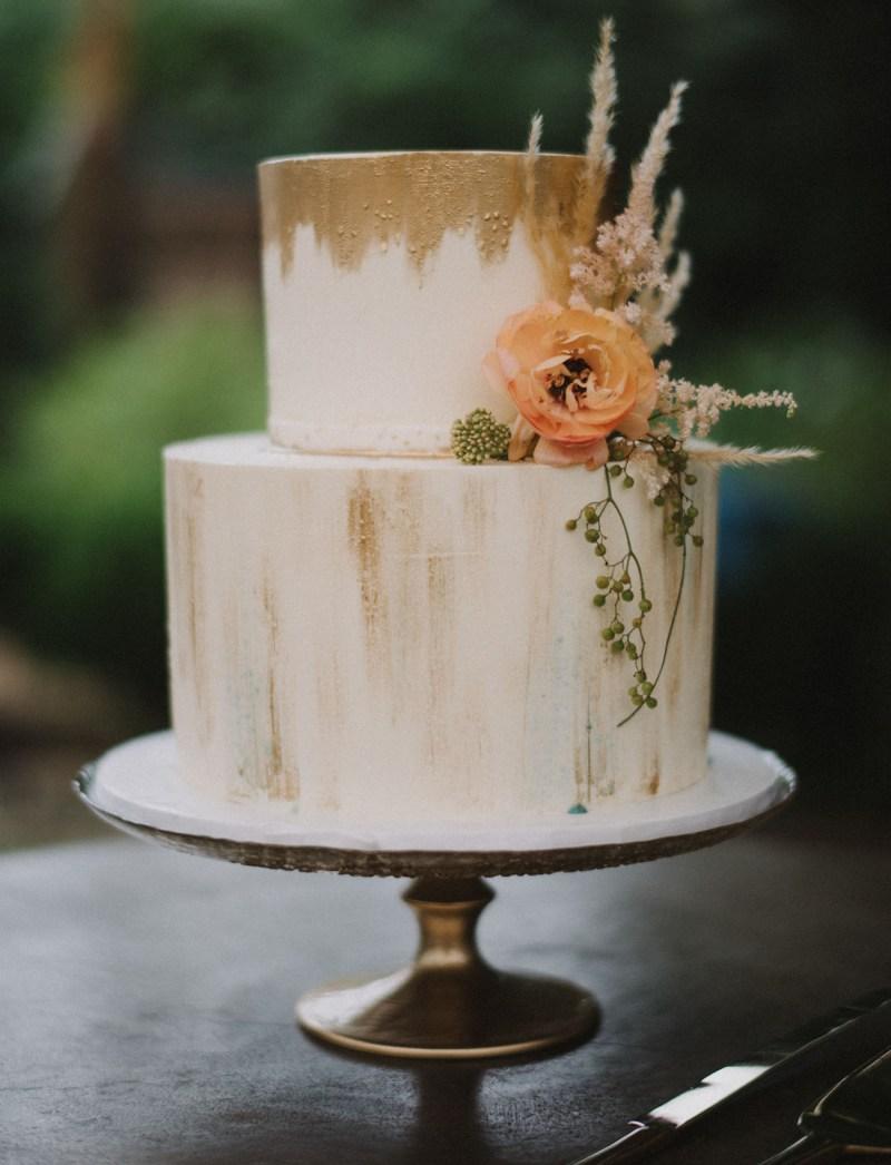 Gold Wedding Cake Green Wedding Shoes