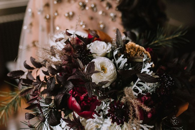red holiday bouquet