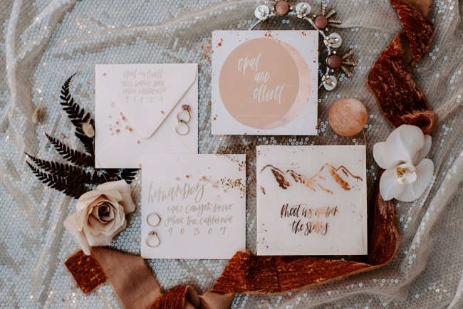 modern boho wedding invitation