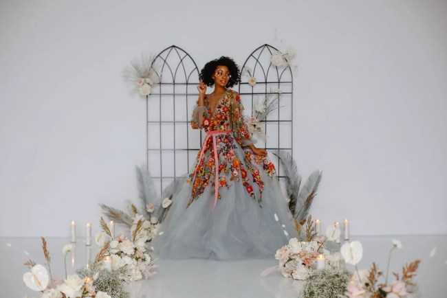 Colorful Marchesa Wedding Dress