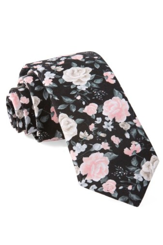 Green Wedding Shoes x The Tie Bar Groom Style Tie Floral Black Wedding