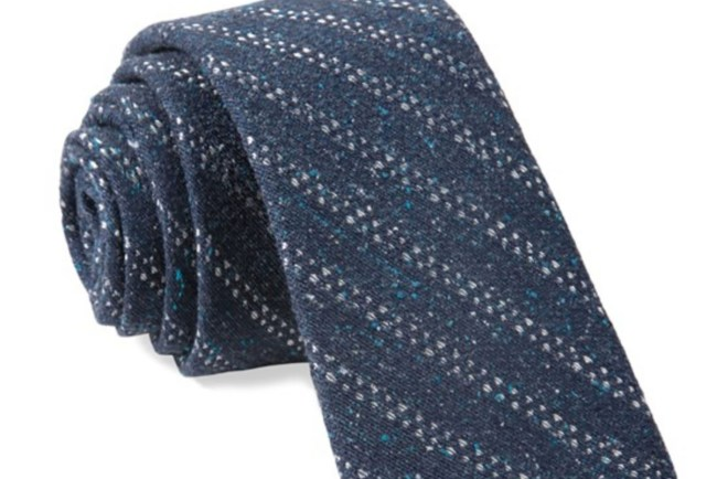 Green Wedding Shoes x The Tie Bar Groom Style Tie Chambray Stripe Navy Blue